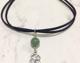 four leaf clover choker necklace green aventurine charm necklace