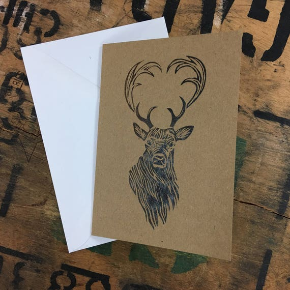 Stag Card • Stag Lino Print • Stag Print • Stag Art • Stag Greeting Card • Stag Birthday Card • Deer Card • Deer Print • Card For Deer Lover