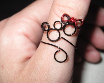 Mickey and Minnie Wire Wrapped Adjustable Ring MADE to ORDER