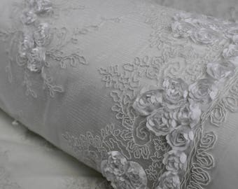 Emily WHITE Floral Matte Corded Embroidery on Mesh Scalloped Edge Lace Fabric by the Yard - Style 3001