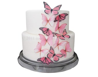 CAKE DECORATIONS - Edible Butterflies 12 Large Pink - Cake Topper, Cake Supply Store, Edible Toppers, Edible Cake Decoration