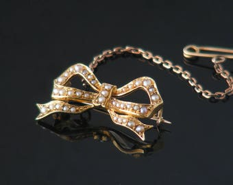 Edwardian Pearl Brooch | 15ct Gold & Seed Pearl Antique Bow Brooch Pin | Real Pearl Ribbon Bow Lingerie Pin | Bouquet Brooch - Something Old