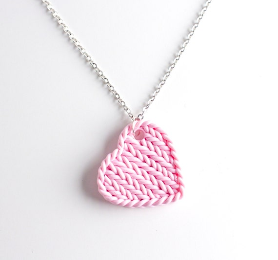 Heart pendant necklace knitted pink heart pink knit aloadofball Image collections