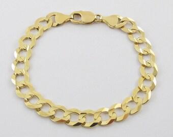 14K Yellow Gold Men's Cuban Link Bracelet - 14k  Gold Curb Link Bracelet - Solid Gold Bracelet