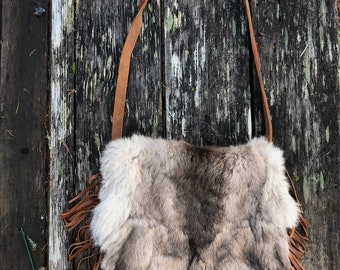 Rabbit hide fringe purse