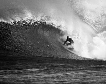 Surfing Photography: Fine Art Surf Photo Print on Metal, Canvas or Paper. Black and White Print of a Surfer on a Big Wave in Hawaii