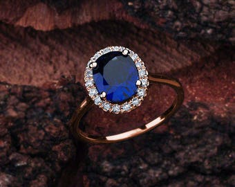 Blue Sapphire Engagement Ring Rose Gold, Blue Sapphire Rose Gold Halo Engagement Ring, Rose Gold Blue Sapphire Engagement Ring, Lab-Grown