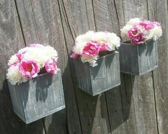 Set of 3 Farm House Rustic Flower Boxes, Wood Planters