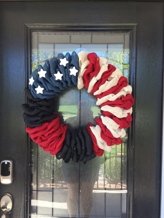 Burlap Wreath Firefighter Wreath Thin Red Line Wreath
