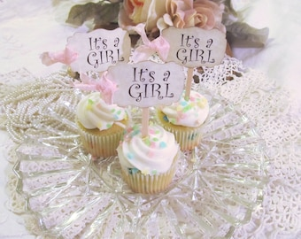 Baby Shower Cupcake Toppers - MINI It's a Girl or It's a Boy Parchment Shower Picks - Set of 24 - Choose Ribbons - gender reveal sprinkle