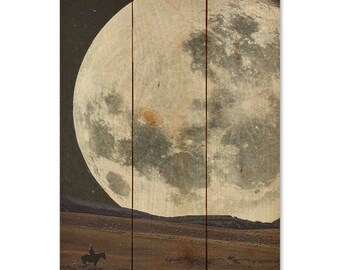 Cowboy Moon - Art on Wood Pallet