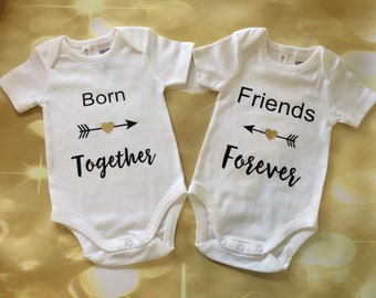 Twin babies bodysuit