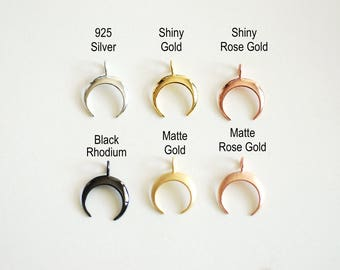 Crescent Moon Charm Pendant- Choose Sterling Silver, Gold, Rose Gold, Half moon charm pendant, Crescent Moon, Tusk Charm, Moon Charm, 365