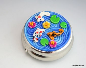 Koi Fish Pillbox in Fimo Polymer Clay Filigree