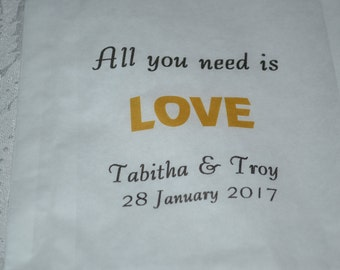 50 Wedding Favor Bags/Sweet Treats Wedding Favor Bags/Shower Bags/Bags/Bridal Shower Favor Bags/All You Need is Love
