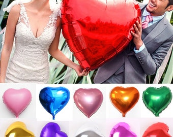 "9 Colors 10"" 18"" 30"" Heart Foil Helium Balloons Wedding Birthday Party Engagement Decoration Reusable"