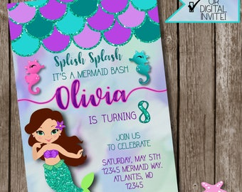 Mermaid Invitations, Mermaid Party, Mermaid Party Invitations, Mermaid Party Decor, Under the sea,  #MER1