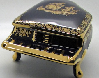 Limoges France Cobalt Blue  Grand Piano Shape Trinket Box Courting Couple Fragonard Gold Gilt Mother's Day Gift Collectible Jewellery Box