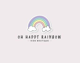 Rainbow logo - Cute logo design - Colorful logo - Logo for a kids shop - Logo for a baby shop - Baby boutique logo - Child apparel logo