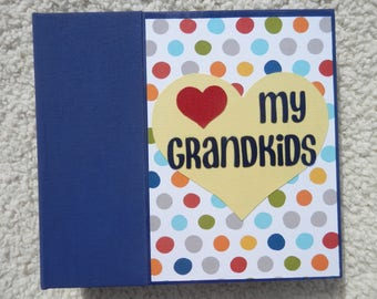 6x6 Grandparent Chipboard Scrapbook Album Navy Blue
