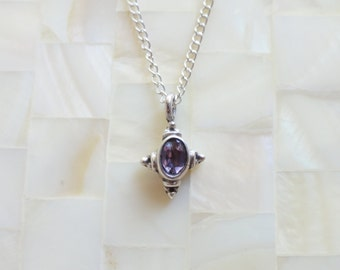 Faceted Amethyst Oxidized Sterling Silver Bezel Pendant on a Sterling Silver Chain Necklace (N1665)