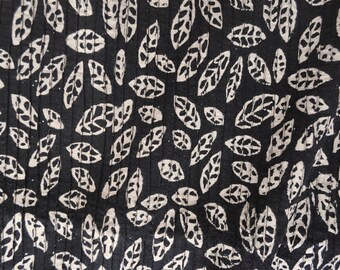 Black Pintuck Fabric Block Print Vegetable Fabric Indian Cotton Fabric by the yard