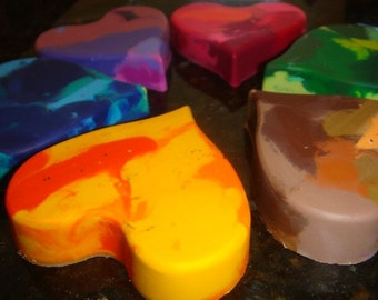Heart Crayons- Repurposed for Toddler Hands- Set of 6