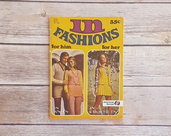 In Fashions 1970s Mod Crocheting Cardigans Men's V Neck Knit 70s Flower Dress Vintage Collegiate Look Vest And Skirt Set Casual Clothing DIY