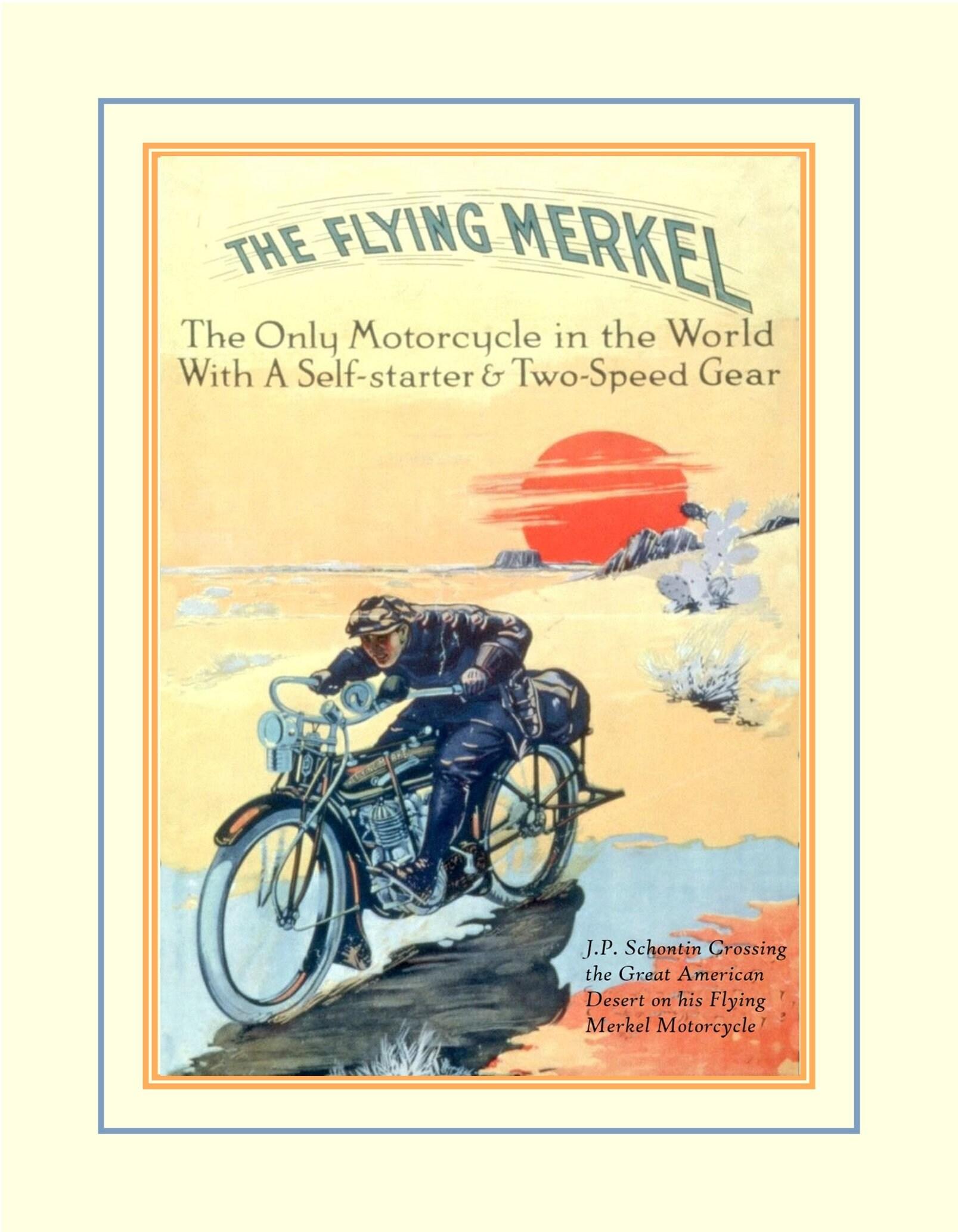 Vintage 1900s Motorcycle Poster Bike Illustration Art Print