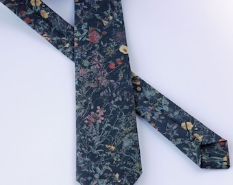 Floral Liberty tie hand-stitched from Wild Flowers tana lawn - floral tie - wedding tie - black tie