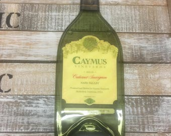 Caymus 2015 Napa Valley 1 Liter - Cabernet Sauvignon Melted Wine Bottle Cheese Serving Tray - Wine Gifts
