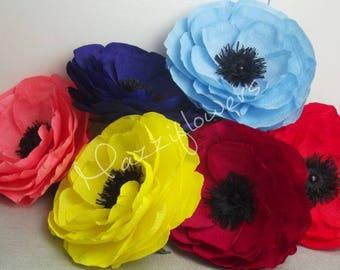 Wedding flowers,paper flowers, anemone flower,giant flowers poppy paper 1 pcs,paper flowers ,bridal flower,paper flowers anemone .