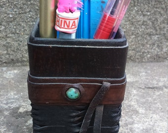 Vintage Leather Pencil Organizer Pen Storage Office Organizer