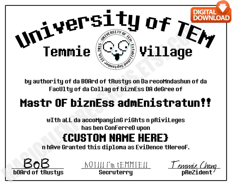 Undertale Universität von Tem Grad Diplom angepasst drucken