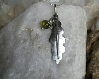 Sterling Silver Oak Leaf Pendant with Peridot Acorn