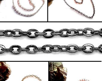 200cm chain by the meter, 5 designs available, silver, bronze or gun metal choice