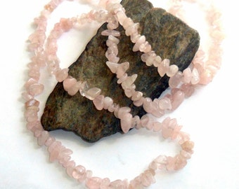 Rose Quartz Long Chip Necklace earthegy