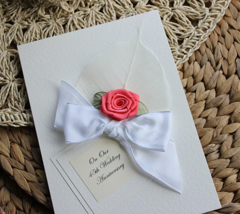 Personalised Handmade Anniversary Card Coral 35th Wedding Mum
