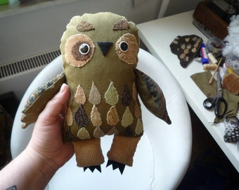 Mo Madeira Owl,  soft art  creature  textile doll by Wassupbrothers, green  wodland tones, retro , bohemian recycled, feather,