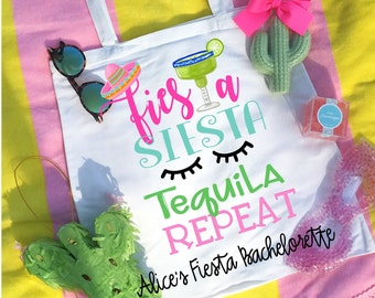 Fiesta Siesta Tequila Repeat Bachelorette Party/Wedding Party Tote Bags