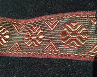 Vintage French-made 1980s  1 1/2 wide Red and Bronze Geometric Patterned Unwired Ribbon
