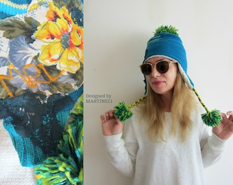 Turquois Pompom Earflap Hat Tam Hat Extravagant Hat Flower Hat Recycled Clothing Earflap Beanie Cashmere Beanie Unique Hat Warm Winter Hat