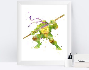 Teenage Mutant Ninja Turtle Donatello Print TMNT Print TMNT Wall Art Watercolor Gift idea TMNT Art Gift Digital Download