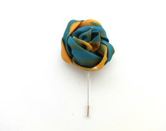 Lapel Pin - Mens Lapel Flower - Blue and Yellow Lapel Pin - Flower Brooch - Boutonniere