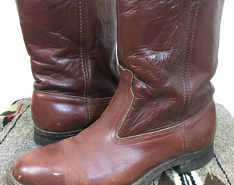 70's vintage FRYE brown leather boots made in usa mens size 6.5