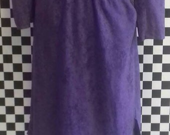 Purple velvet/felt style dress with pockets from the 70's - Size S/M