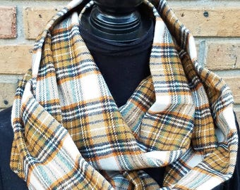 Plaid Flannel Scarf for Women/Fall Winter Scarf/Infinity Scarves/Plaid Infinity Scarf/Gift for Her