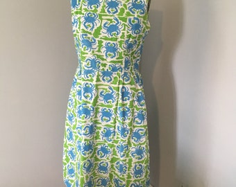 The Vested Gentress 1960s dress Hand-Screen Printed Blue Crab