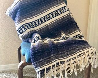 vintage Mexican blanket throw purple gray navy boho southwestern Falsa