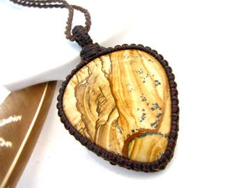 Picture Jasper Necklace /  Southwestern style / Natural stone jewelry / Macrame / Earthy Jewelry /  Gifts for guys / for him / men gift idea